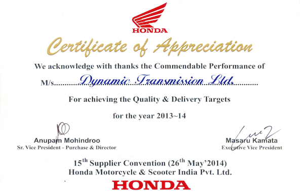 Recognition for Honda financial account management